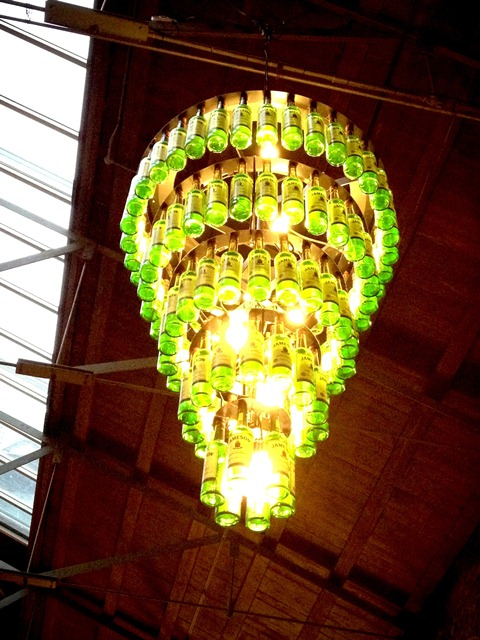 cool bottle chandelier at the Old Jameson's Distillery