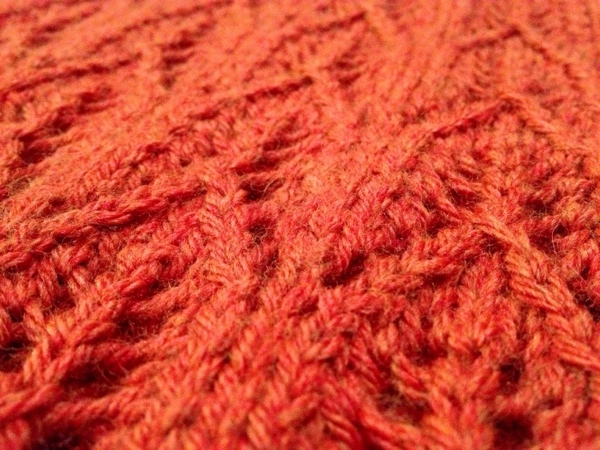 Gothic Lace Cowl - super close up of the knitting