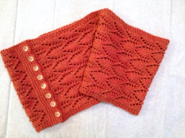 Gothic Lace Cowl, a knitted cowl complete with buttons!