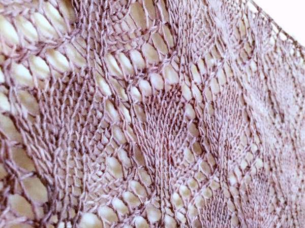 Closeup of Phoenicia shawl/wrap on NotYourAverageCrochet.com