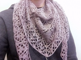 Phoenicia shawl/wrap modeled on NotYourAverageCrochet.com