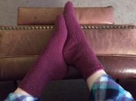 Hannah's first knitted socks on notyouraveragecrochet.com