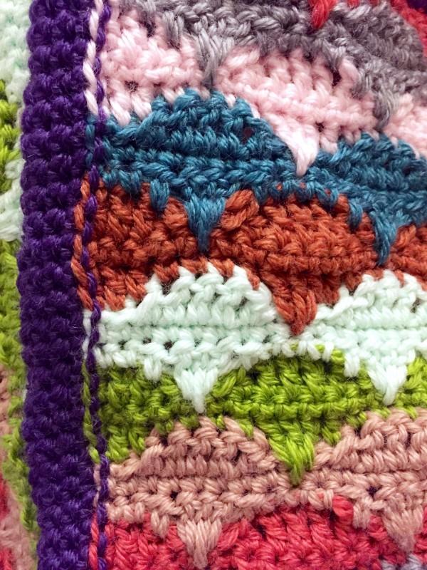 crochet clamshell blanket border, back view