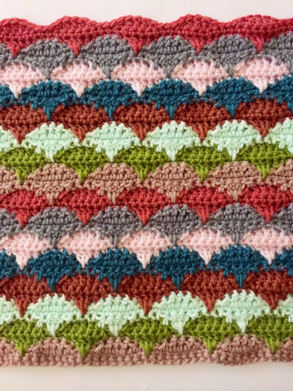 crochet clamshell blanket: 2 color reps done