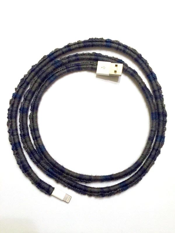 crochet cord cover blue