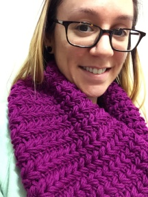 Faux Knit Puffy Cowl